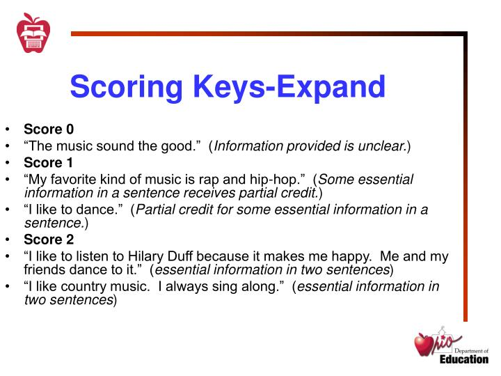 Scoring Keys-Expand