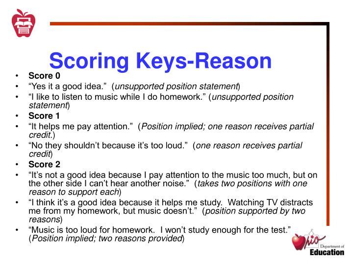 Scoring Keys-Reason