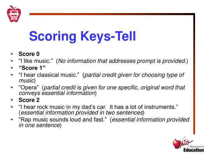 Scoring Keys-Tell