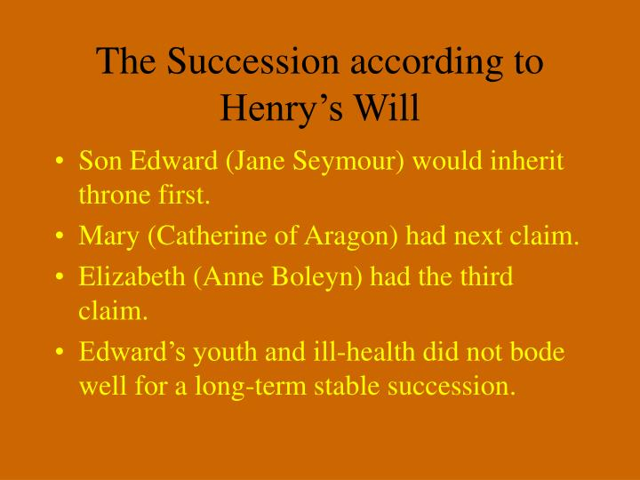 The Succession according to Henry's Will