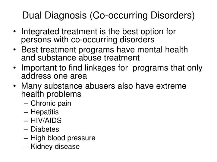 co occurring disorders essay Dependency, music, therapy - treatments of substance disorders title length color rating : phobic disorders: symptoms, treatments and research essay - 1 introduction although phobic disorder is certainly common, it has been more difficult to establish the extent to which it should be considered a serious mental disorder from a public.