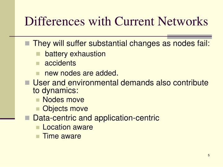 Differences with Current Networks