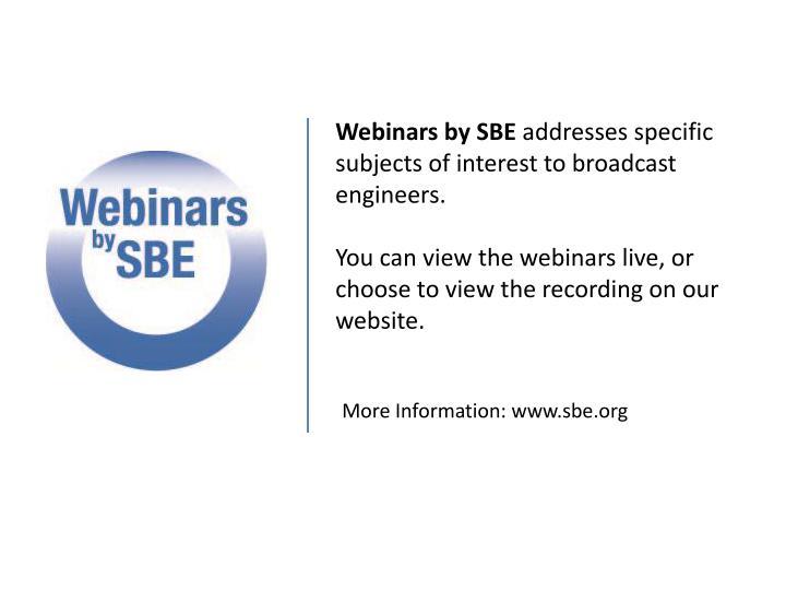 Webinars by SBE