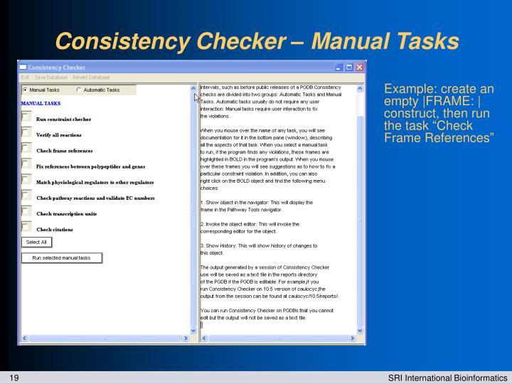 Consistency Checker – Manual Tasks