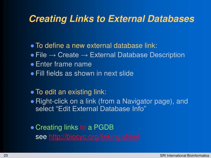 Creating Links to External Databases