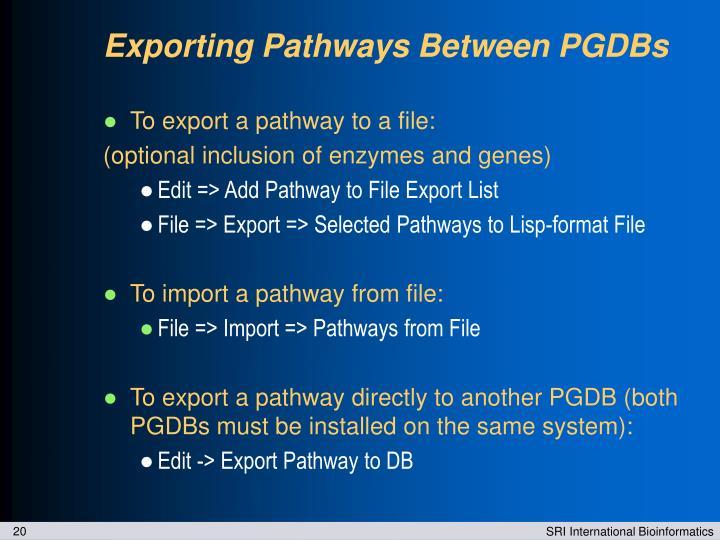 Exporting Pathways Between PGDBs