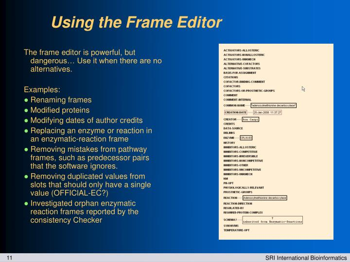 Using the Frame Editor
