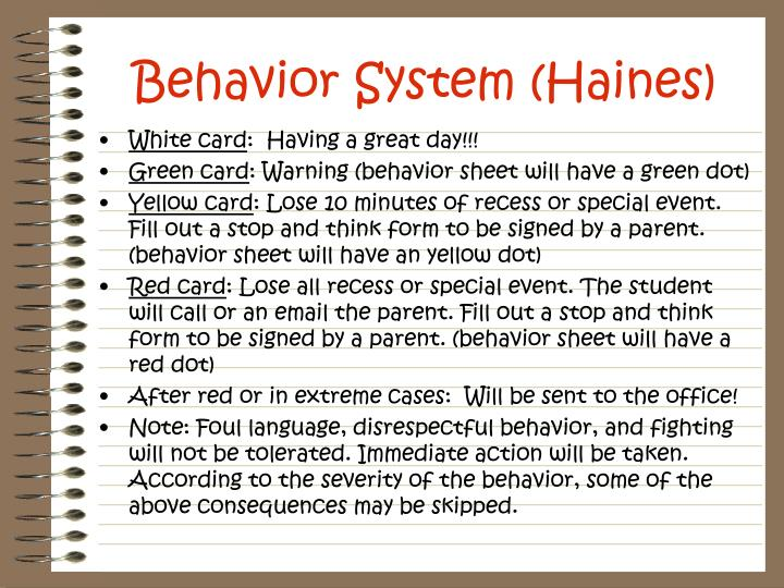 Behavior System (Haines)
