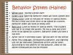 behavior system haines