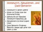 homework newsletter and daily behavior
