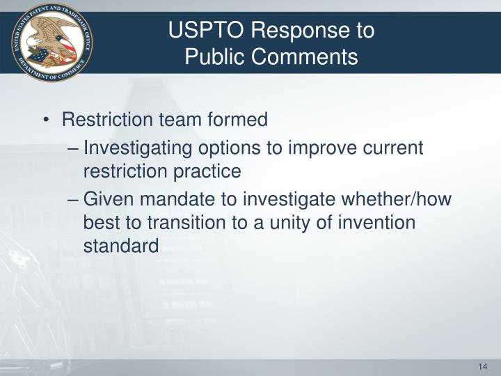 USPTO Response to Public Comments