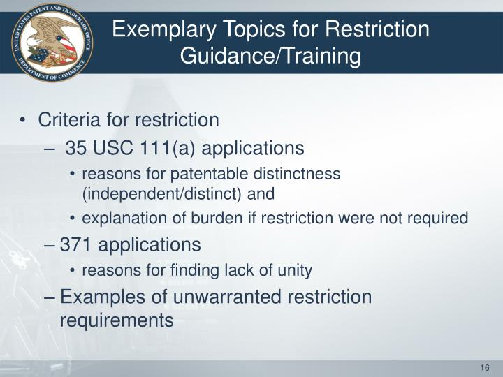 Exemplary Topics for Restriction Guidance/Training