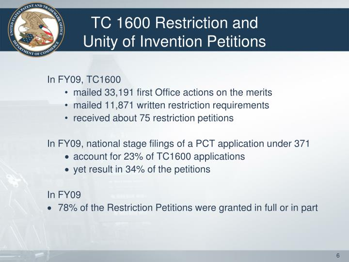 TC 1600 Restriction and