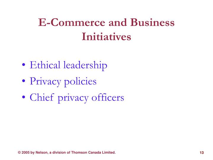 E-Commerce and Business Initiatives