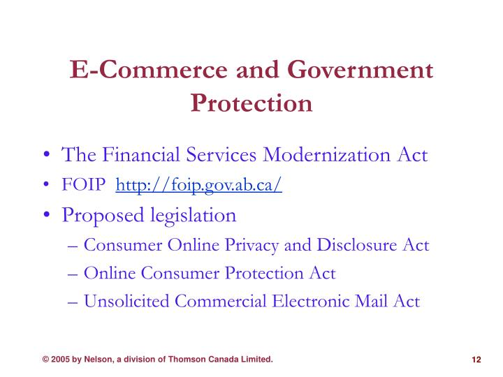 E-Commerce and Government Protection