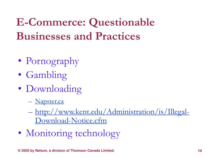 E-Commerce: Questionable Businesses and Practices
