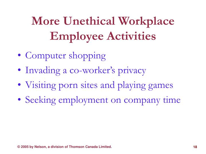 More Unethical Workplace Employee Activities