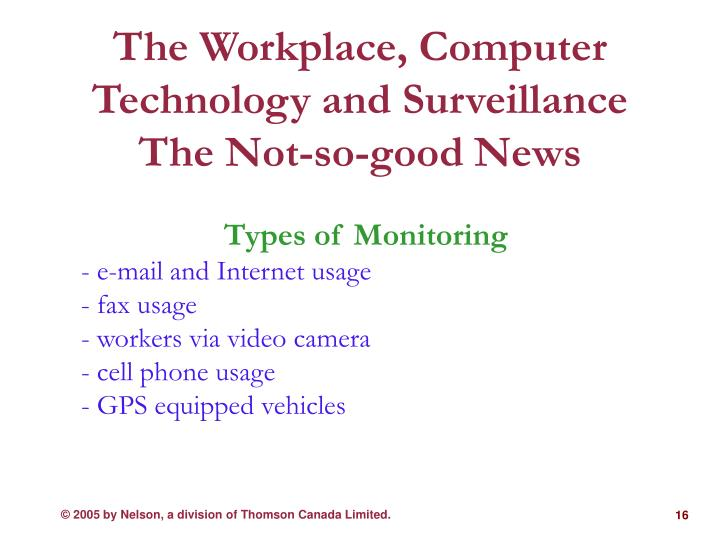 The Workplace, Computer Technology and Surveillance The Not-so-good News