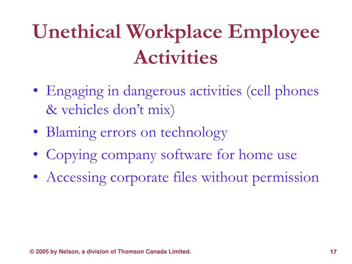 Unethical Workplace Employee Activities
