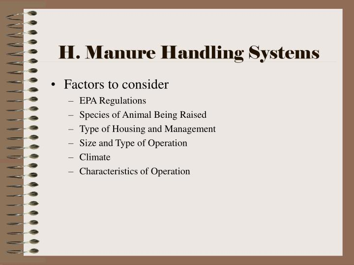 H. Manure Handling Systems