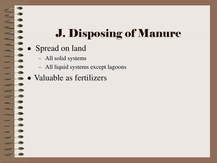 J. Disposing of Manure