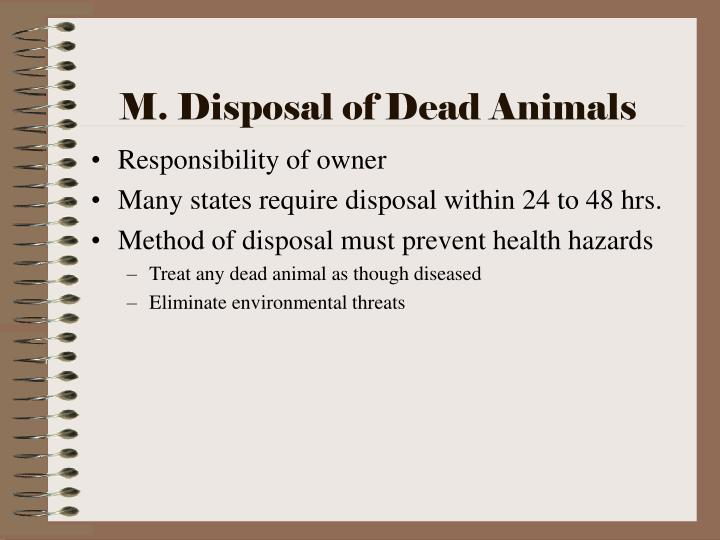 M. Disposal of Dead Animals