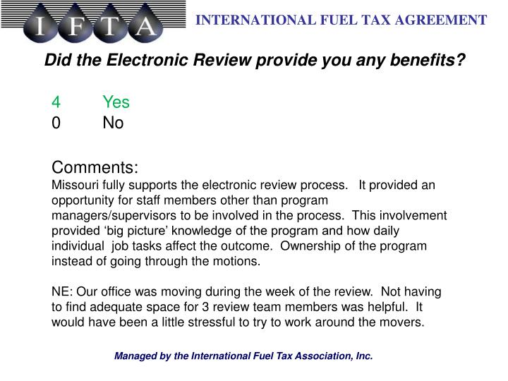 Did the Electronic Review provide