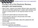 provide a list of the electronic reviews strengths and weaknesses