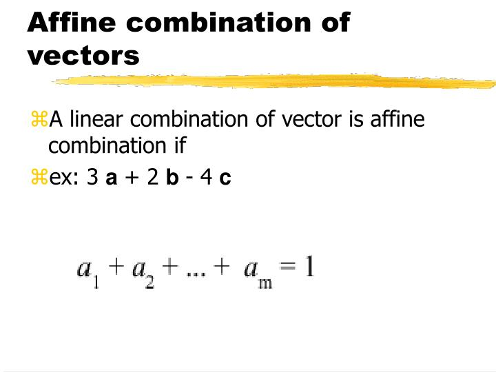 Affine combination of vectors