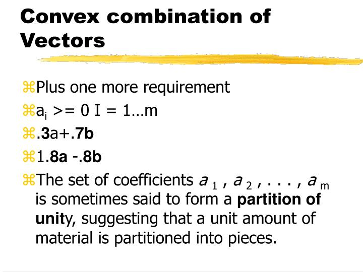Convex combination of Vectors