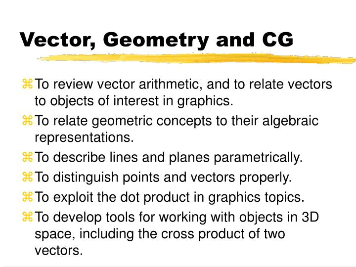 Vector geometry and cg