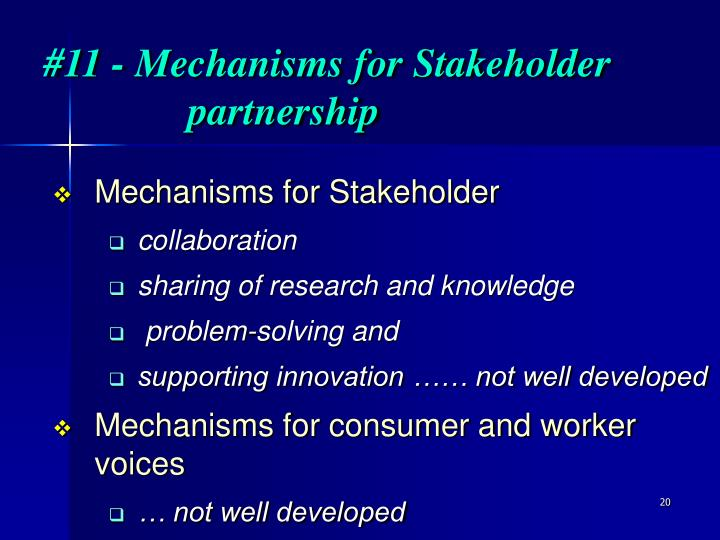 #11 - Mechanisms for Stakeholder partnership