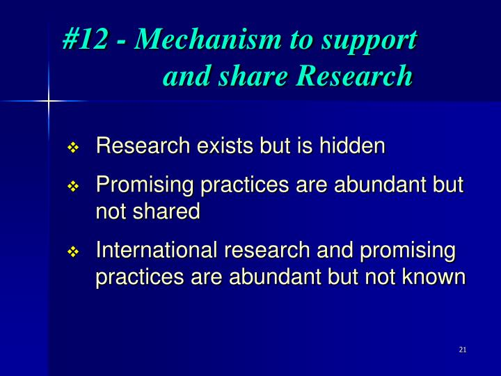 #12 - Mechanism to support and share Research