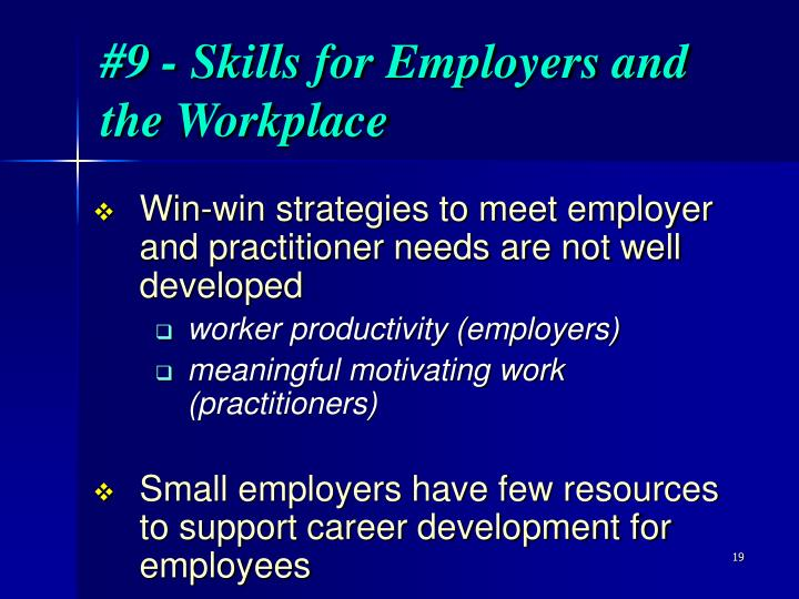 #9 - Skills for Employers and the Workplace