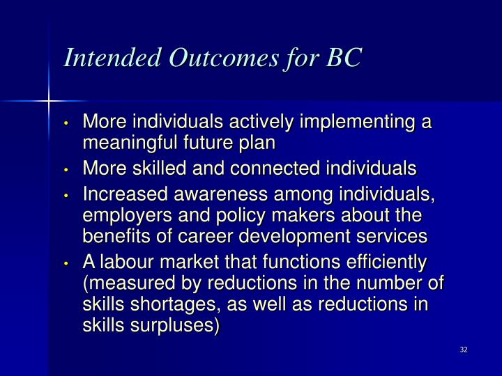 Intended Outcomes for BC
