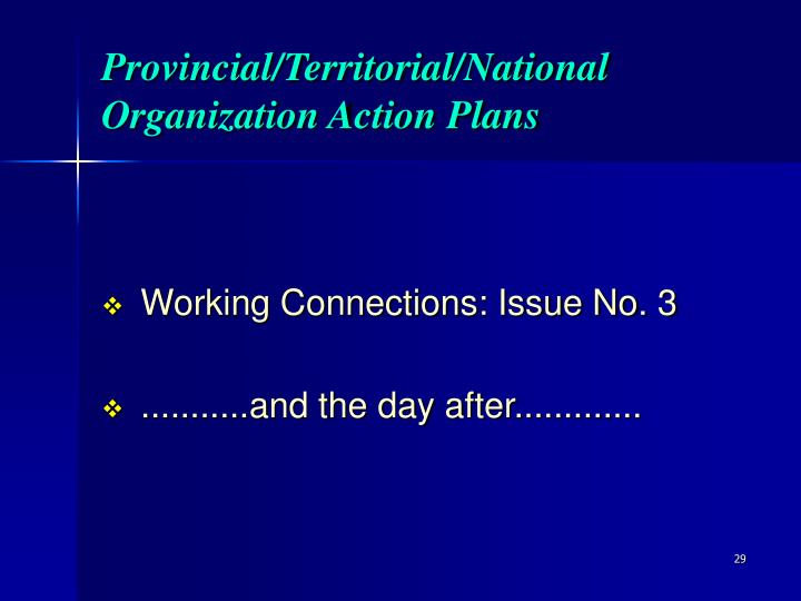 Provincial/Territorial/National Organization Action Plans