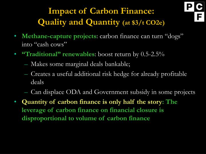 Impact of Carbon Finance: