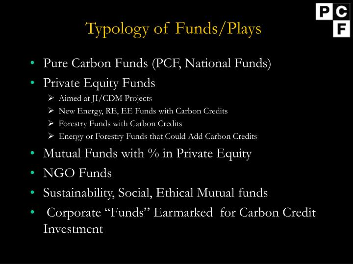 Typology of Funds/Plays