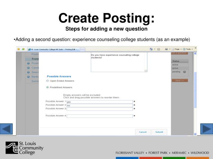 Create Posting: