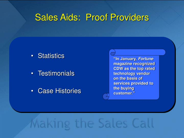 Sales Aids:  Proof Providers