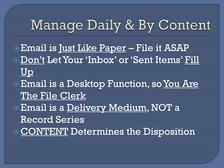 Manage Daily & By Content