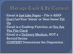 manage daily by content