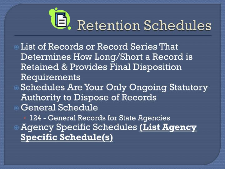 Retention Schedules