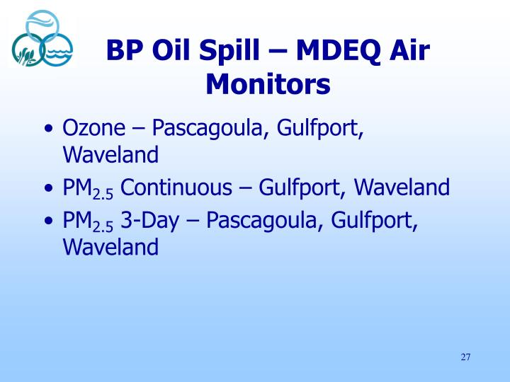 BP Oil Spill – MDEQ Air Monitors