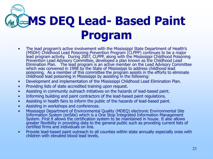 MS DEQ Lead- Based Paint Program