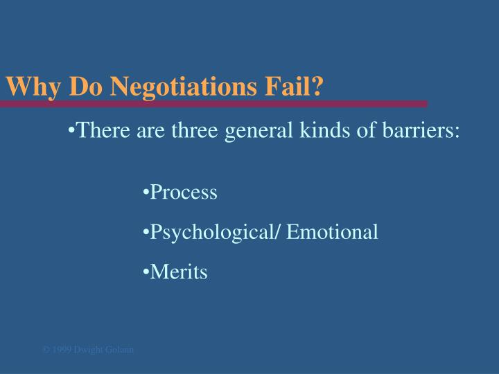 Why Do Negotiations Fail?