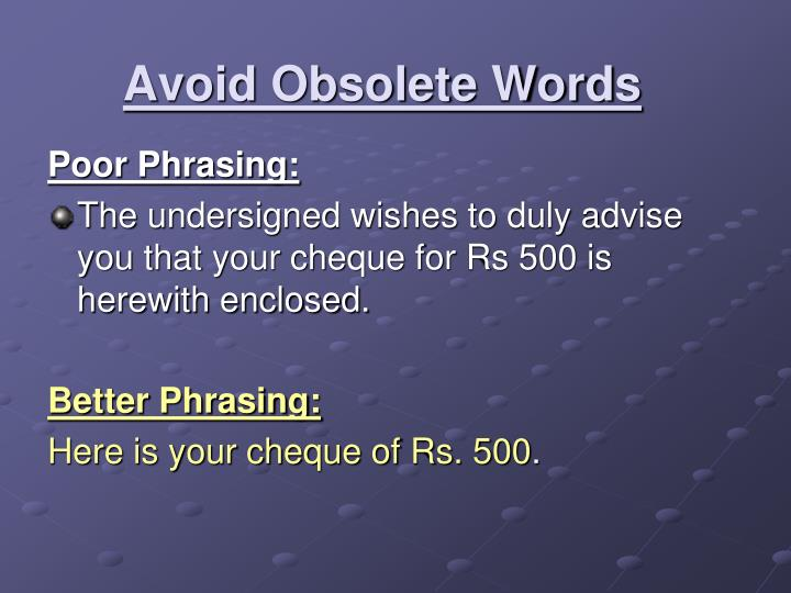 Avoid Obsolete Words