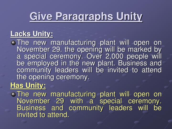 Give Paragraphs Unity