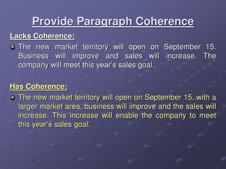 Provide Paragraph Coherence