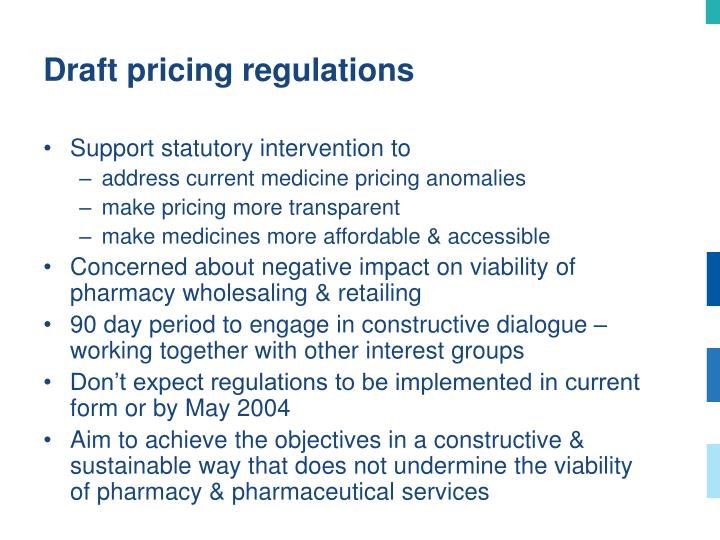 Draft pricing regulations